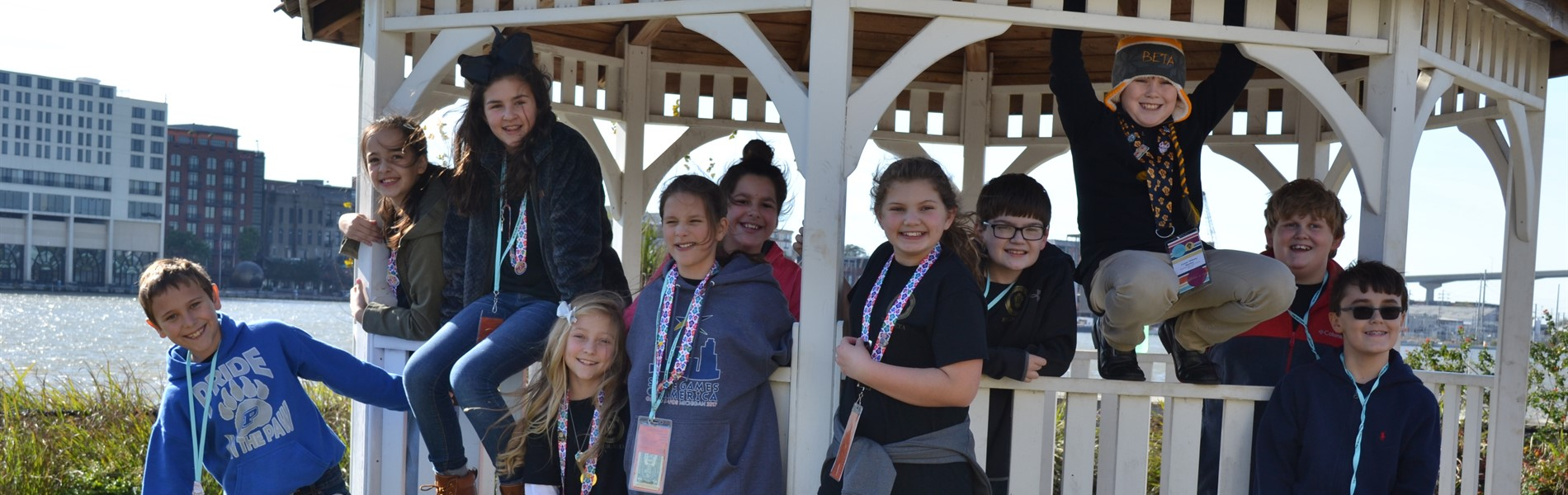 Students attending Beta Convention hang out in gazebo